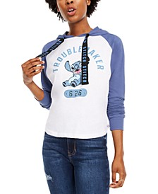 Disney By Juniors' Stitch Raglan-Sleeve Hoodie
