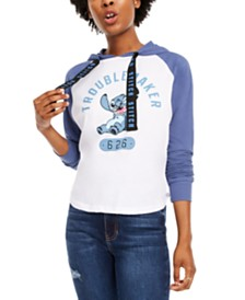 Disney By Modern Lux Juniors' Stitch Raglan-Sleeve Hoodie