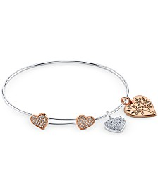 Unwritten Crystal Heart Charm Bangle Bracelet in Two-Tone Stainless Steel