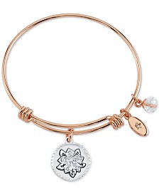 Unwritten Crystal Flower Daughter Charm Bangle Bracelet in Two-Tone Stainless Steel