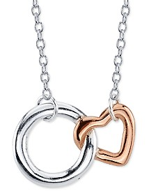 "Unwritten Best Friends Circle Heart Pendant Necklace in Two-Tone Sterling Silver, 16"" + 2"" extender"