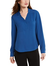 Nine West V-Neck Chest-Pocket Top