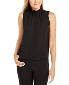 Calvin Klein Ruffled High-Neck Top