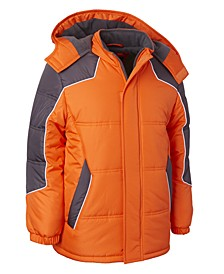 Little Boys Hooded Colorblocked Puffer Jacket With Hat