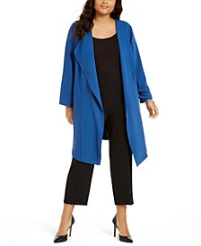 Plus Size Open-Front Elastic-Back Cardigan