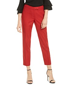 Extend-Tab Twill Ankle Pants