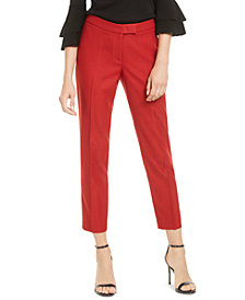 Anne Klein Extend-Tab Twill Ankle Pants