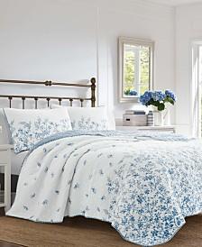 Laura Ashley Flora Blue Quilt Set, Twin