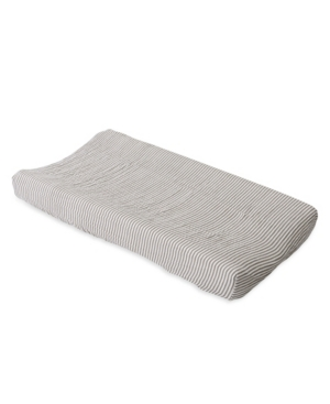 Little Unicorn Grey Stripe Cotton Muslin Changing Pad Cover In Gray
