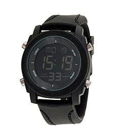 Men's Analog Quartz Black Silicone Strap Watch 27mm