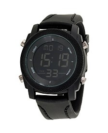 American Exchange Men's Analog Quartz Black Silicone Strap Watch 27mm
