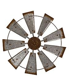 Glitzhome Farmhouse Metal Galvanized Wind Spinner Wall Decor