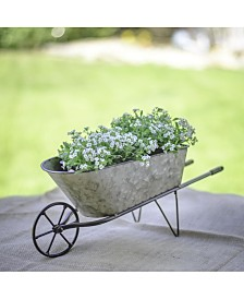VIP Home & Garden Galvanized Metal Tabletop Wheelbarrow Planter
