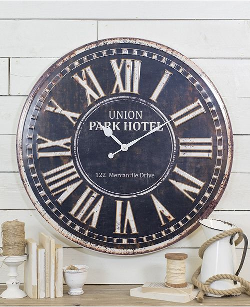 """VIP Home & Garden Rustic 32"""" and Metal Wall Clock"""