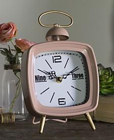 VIP Home & Garden Pink Metal Table Clock