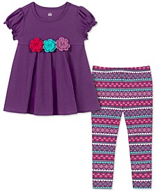 Baby Girls 2-Pc. 3D Flower Tunic & Printed Leggings Set