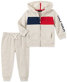 Tommy Hilfiger Baby Boys 2-Pc. Fleece Flag Hoodie & Jogger Pants Set