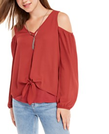 BCX Juniors' Knot-Front Layered Cold-Shoulder Top with Necklace