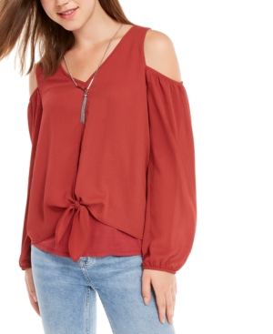 Bcx Juniors' Cold-Shoulder Tie Front Top with Necklace