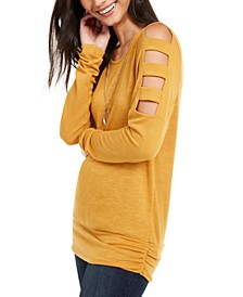 Juniors' Cold-Shoulder Textured Top with Necklace