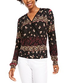 Juniors' V-Neck Printed Top, Created for Macy's