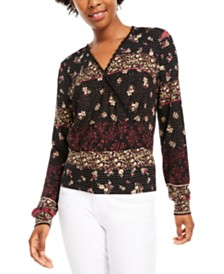 American Rag Juniors' V-Neck Printed Top, Created for Macy's