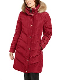 Chevron Faux-Fur Trim Hooded Down Puffer Coat