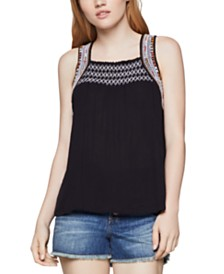 BCBGeneration Smocked Embroidered Top