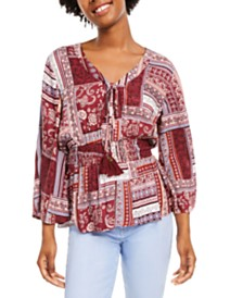 American Rag Juniors' Printed Button-Sleeve Top, Created for Macy's