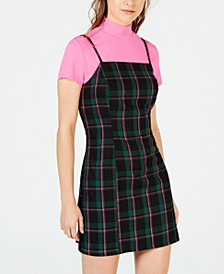 Juniors' Neon Top & Plaid Dress