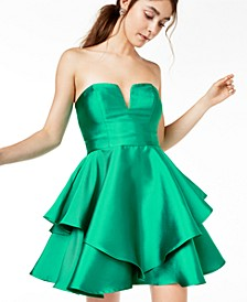 Juniors' Strapless Satin Cupcake Dress