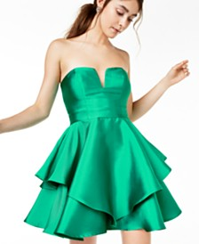 Trixxi Juniors' Strapless Satin Cupcake Dress