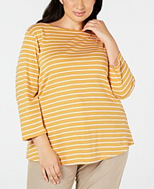 Plus Size Cotton Printed 3/4-Sleeve T-Shirt, Created for Macy's