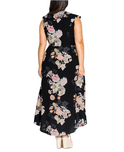 Trendy Plus Size High-Low Maxi Wrap Dress