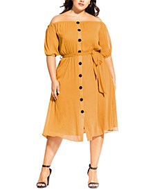 Trendy Plus Size Button Through Dress