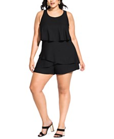 City Chic Trendy Plus Size Tiered Romper