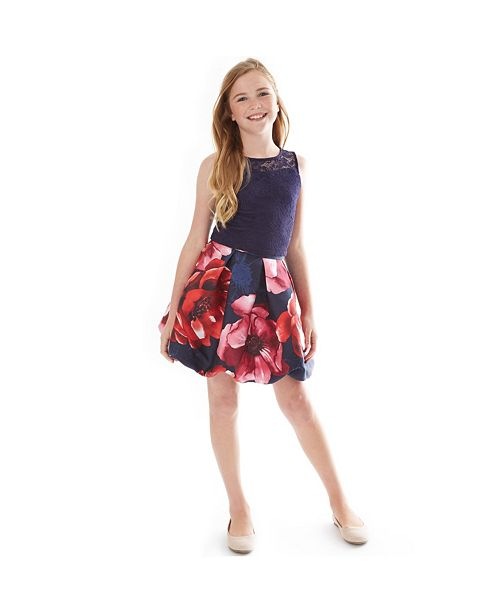 BCX Big Girls Lace Top & Floral-Print Bubble Skirt Set
