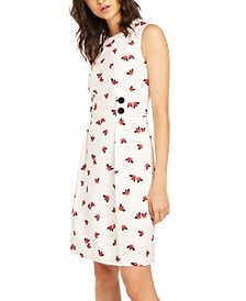Pleated Dot-Print Sleeveless Dress