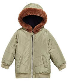 Baby Boys Hooded Chevron Jacket With Faux-Fur Trim, Created for Macy's
