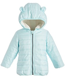 Baby Boys Fur-Lined Hooded Bear Puffer Jacket, Created for Macy's