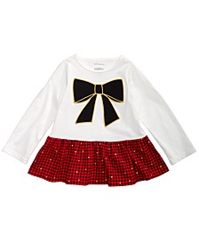 Baby Girls Bow Check Peplum T-Shirt, Created For Macy's