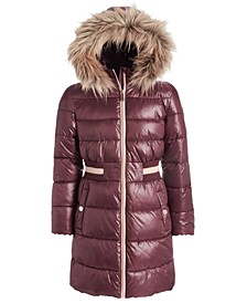 Big Girls Knit-Waist Puffer Jacket With Removable Faux-Fur-Trimmed Hood