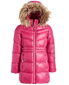 Big Girls Stadium Puffer Jacket With Removable Faux-Fur-Trimmed Hood