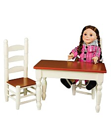 """The Queen's Treasures 18"""" Wooden Farmhouse Kitchen Table and Two Chairs"""