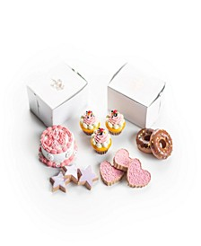 """American Bakery Collection Party Food Set Of Cookies, Large Cupcakes, Chocolate Donuts, And A Party Cake, Fits 18"""" Girl Dolls"""