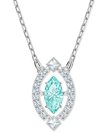 "Silver-Tone Crystal Pendant Necklace, 14"" + 7/8"" extender"