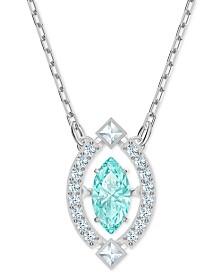 "Swarovski Silver-Tone Crystal Pendant Necklace, 14"" + 7/8"" extender"