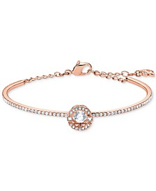 Silver-Tone Cubic Zirconia Bangle Bracelet