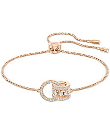 Swarovski Rose Gold-Tone Crystal Interlocking Loops Bolo Bracelet