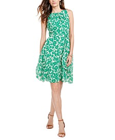 Petite Belted Printed Fit & Flare Dress